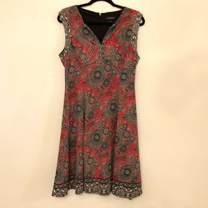 liz claiborne red  and black patterned dress